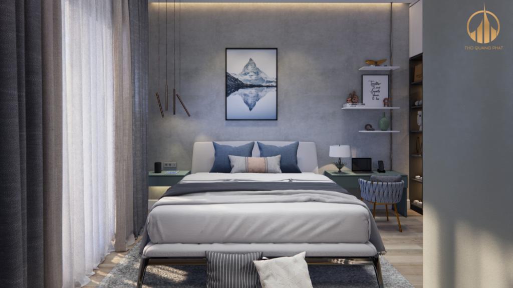 Phòng ngủ được thiết kế mang lại cảm giác thư giãn, thoải mái